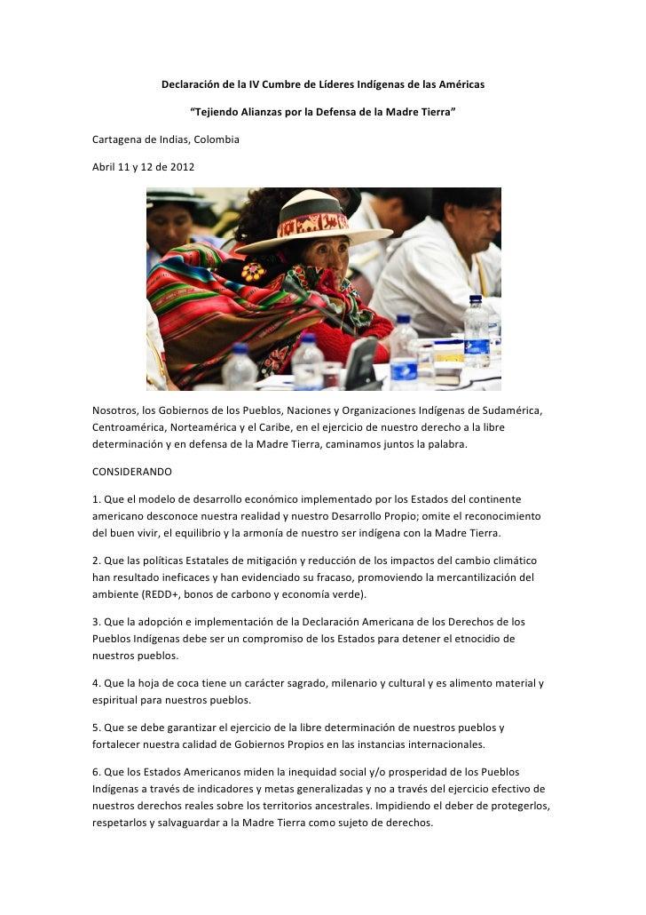 """Declaración de la IV Cumbre de Líderes Indígenas de las Américas                    """"Tejiendo Alianzas por la Defensa de l..."""