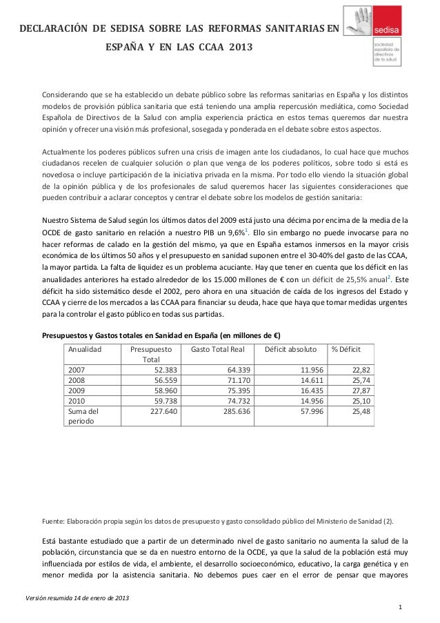 DECLARACIÓN DE SEDISA SOBRE LAS REFORMAS SANITARIAS EN                            ESPAÑA Y EN LAS CCAA 2013      Considera...