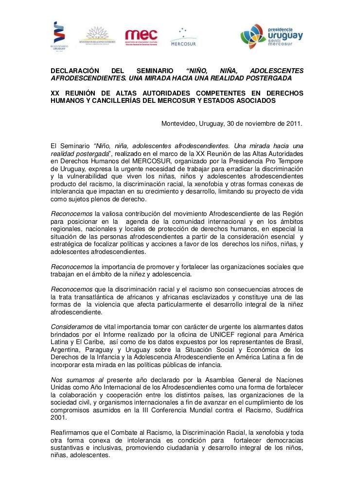 """DECLARACIÓN   DEL    SEMINARIO   """"NIÑO,   NIÑA,   ADOLESCENTESAFRODESCENDIENTES. UNA MIRADA HACIA UNA REALIDAD POSTERGADAX..."""