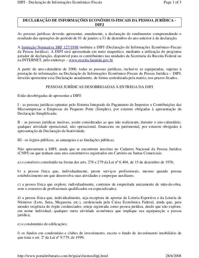 DIPJ - Declaração de Informações Econômico-Fiscais  Page 1 of 3  DECLARAÇÃO DE INFORMAÇÕES ECONÔMICO-FISCAIS DA PESSOA JUR...