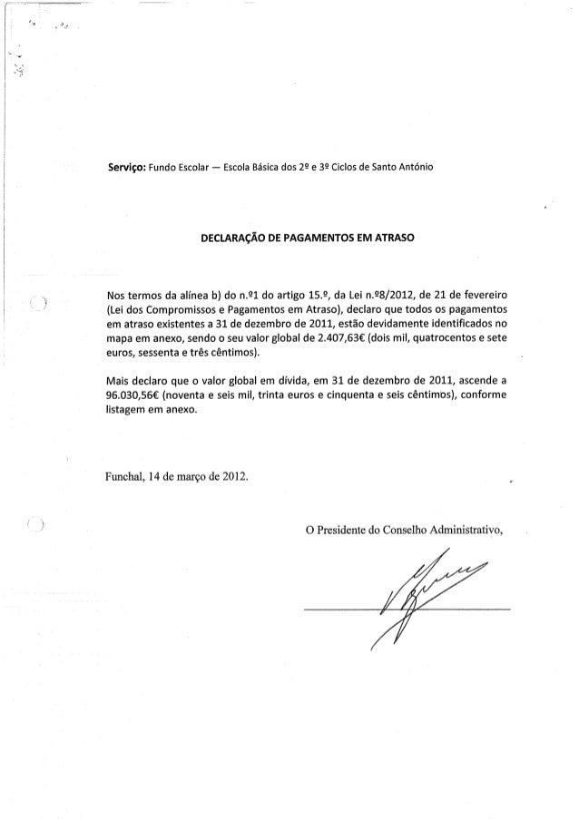 Declaração de pag. em atraso f. e