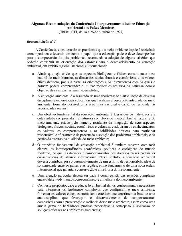 Algumas Recomendações da Conferência Intergovernamental sobre Educação Ambiental aos Países Membros (Tbilisi, CEI, de 14 a...