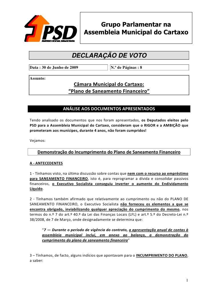 Grupo Parlamentar na                                Assembleia Municipal do Cartaxo                           DECLARAÇÃO D...