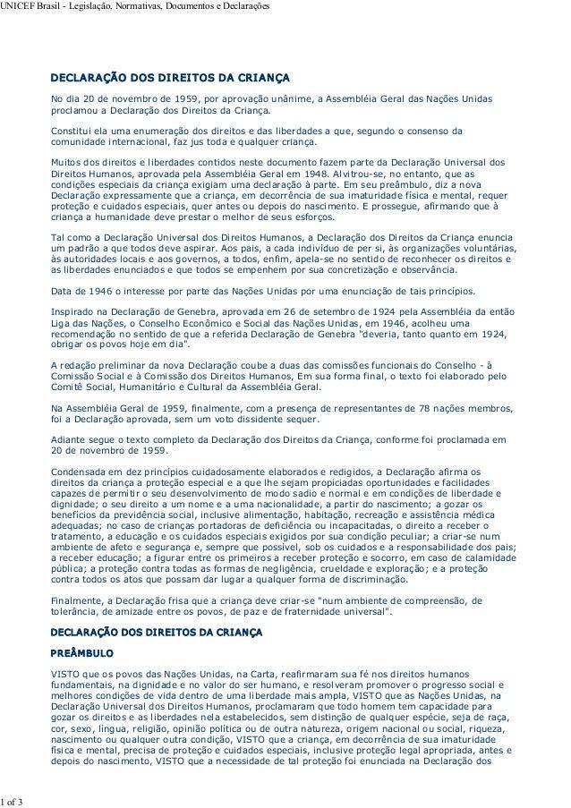 UNICEFBrasilLegislação,Normativas,DocumentoseDeclarações            DECLARAÇÃODOSDI REI TOSDACRI ANÇA       ...
