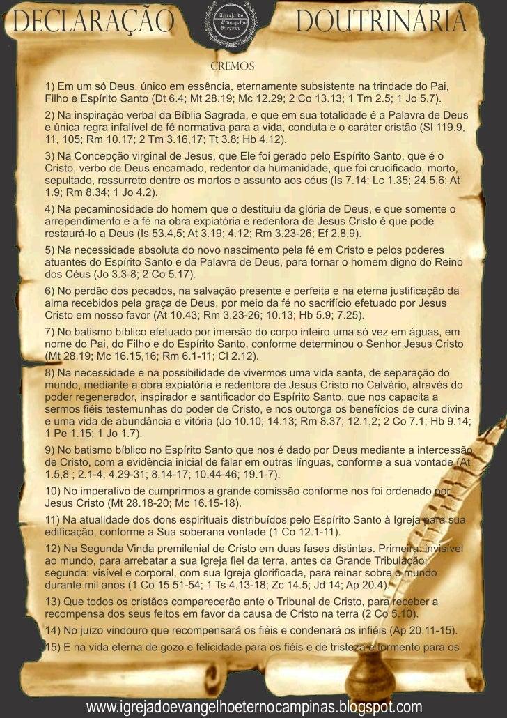 Declaração                       Doutrinária                     Cremos    Igreja do Evangelho eterno    www.igrejadoevang...
