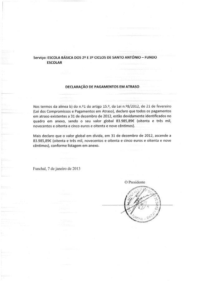Declaração pagamentos em atraso fe de 2012