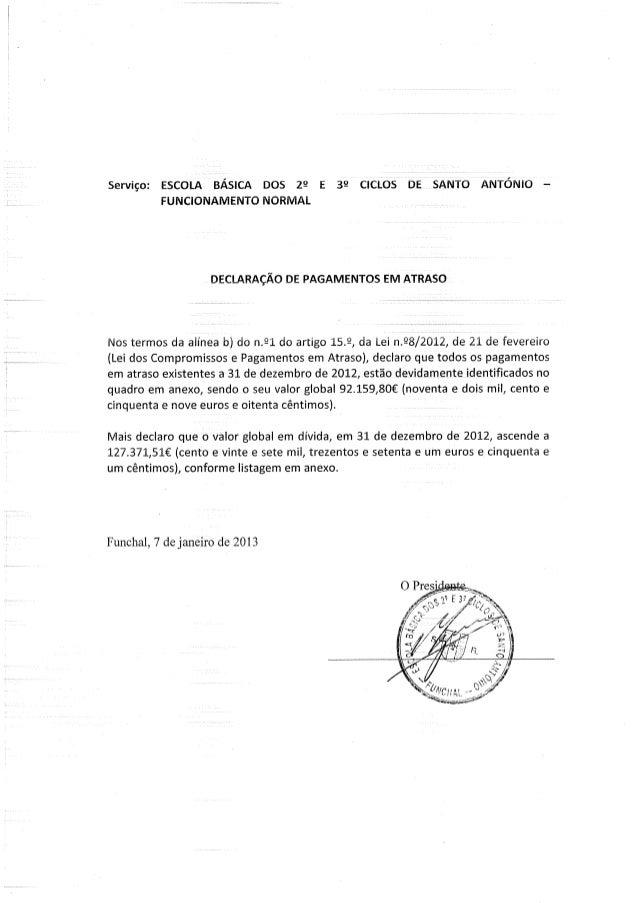 Declaração pagamentos em atraso fn de 2012