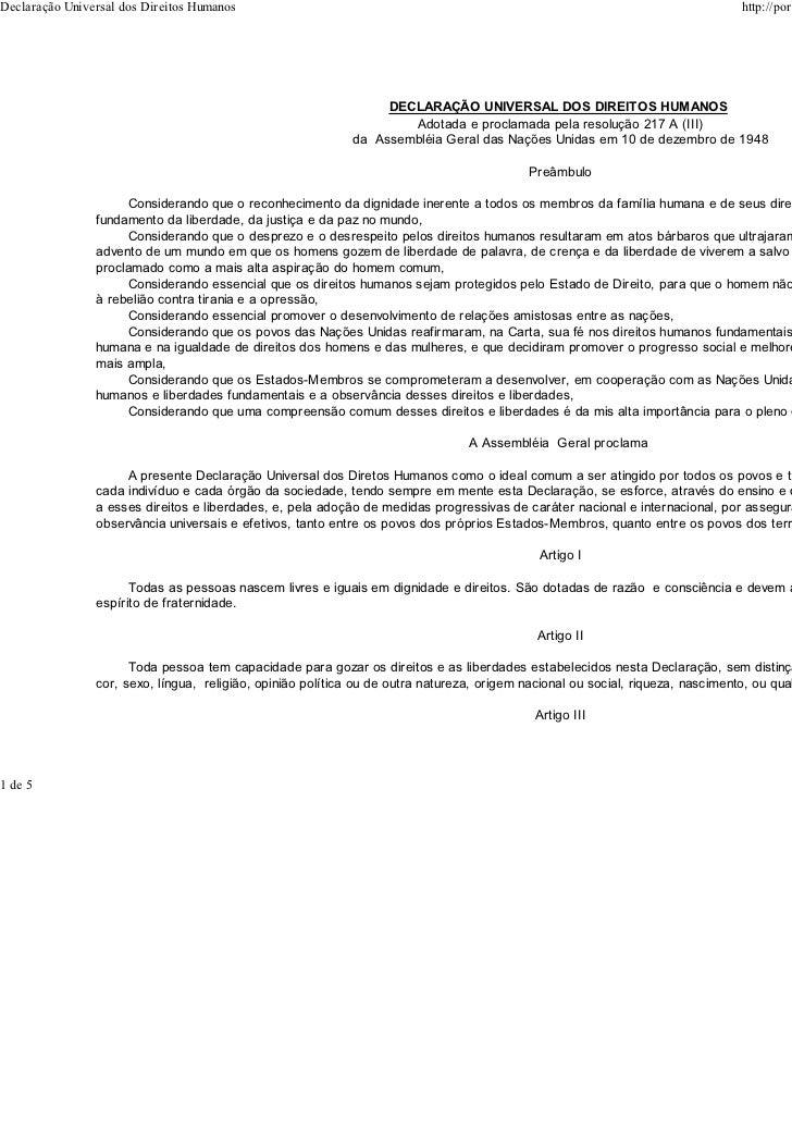 Declaração Universal dos Direitos Humanos                                                                                 ...