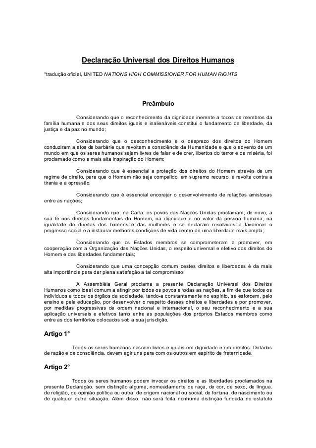 Declaração Universal dos Direitos Humanos*tradução oficial, UNITED NATIONS HIGH COMMISSIONER FOR HUMAN RIGHTS             ...