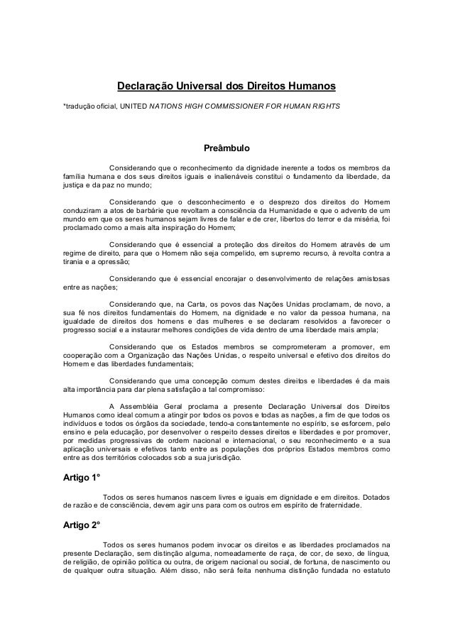 Declaração Universal dos Direitos Humanos *tradução oficial, UNITED NATIONS HIGH COMMISSIONER FOR HUMAN RIGHTS Preâmbulo C...