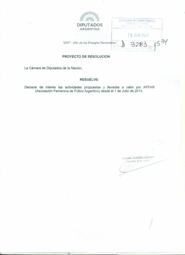 """4>. .••••• ,.J ••-..J04~ 'Ar~ARA D~··Dlp TADO~ DIPUTADOS ARGENTINA '2077 - Año de las Energías Renovables"""" PROYECTO DE RES..."""