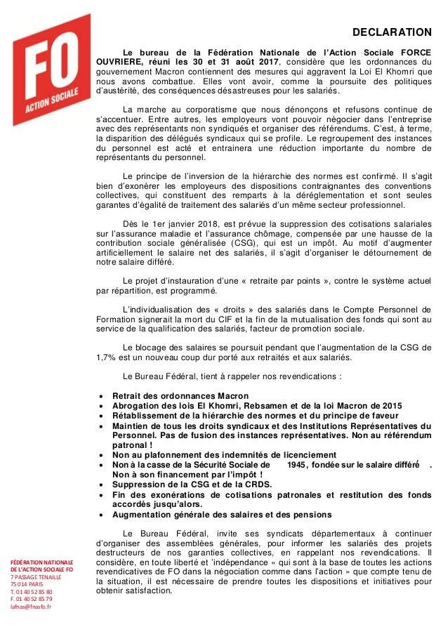 FÉDÉRATION NATIONALE DE L'ACTION SOCIALE FO 7 PASSAGE TENAILLE 75 014 PARIS T. 01 40 52 85 80 F. 01 40 52 85 79 lafnas@fna...