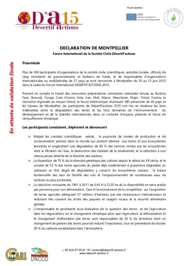 + 33 (0)4 67 55 61 18 | contact@desertif-actions.fr www.desertif-actions.fr Projet labellisé : DECLARATION DE MONTPELLIER ...