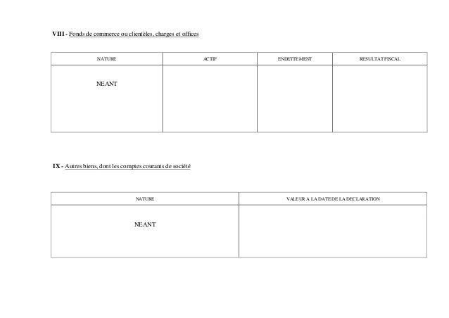 VIII - Fonds de commerce ou clientèles, charges et officesNATURE ACTIF ENDETTEMENT RESULTAT FISCALNEANTIX - Autres biens, ...