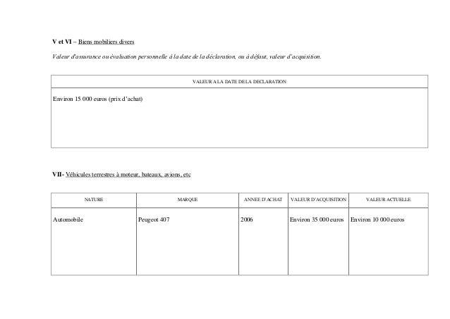 V et VI – Biens mobiliers diversValeur dassurance ou évaluation personnelle à la date de la déclaration, ou à défaut, vale...