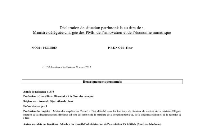 Déclaration de situation patrimoniale au titre de :        Ministre déléguée chargée des PME, de l'innovation et de l'écon...