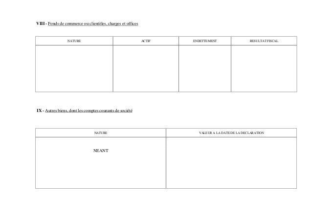 VIII - Fonds de commerce ou clientèles, charges et offices                 NATURE                                      ACT...
