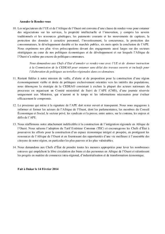 Annuler le Rendez-vous 10. Les négociateurs de l'UE et de l'Afrique de l'Ouest ont convenu d'une clause de rendez-vous pou...