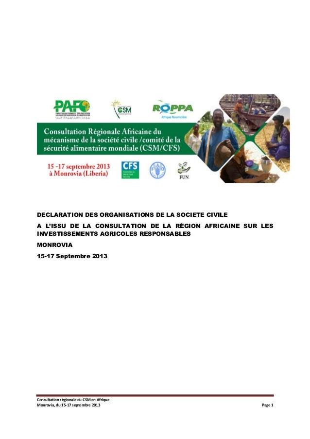 DECLARATION DES ORGANISATIONS DE LA SOCIETE CIVILE A L'ISSU DE LA CONSULTATION DE LA RÉGION AFRICAINE SUR LES INVESTISSEME...