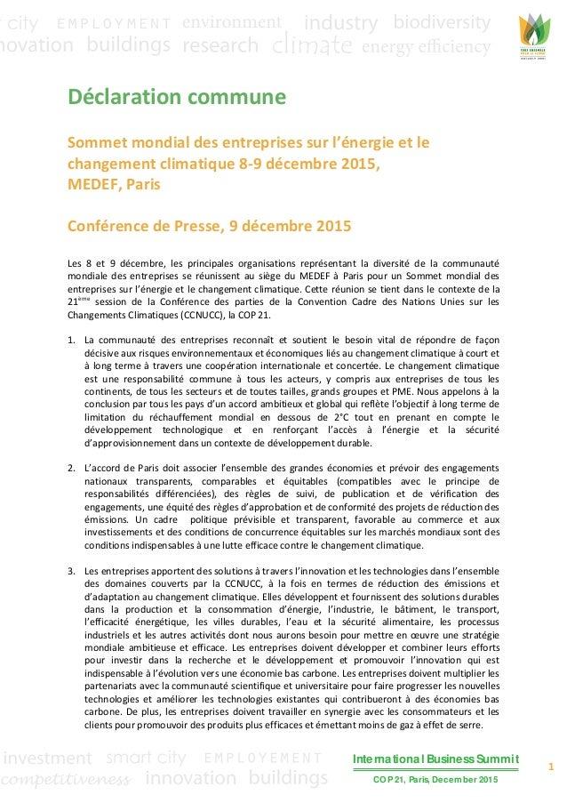 1 International Business Summit COP 21, Paris, December 2015 Déclaration commune Sommet mondial des entreprises sur l'éner...