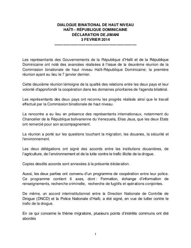 DIALOGUE BINATIONAL DE HAUT NIVEAU HAÏTI - RÉPUBLIQUE DOMINICAINE DÉCLARATION DE JIMANI 3 FEVRIER 2014 -------------------...