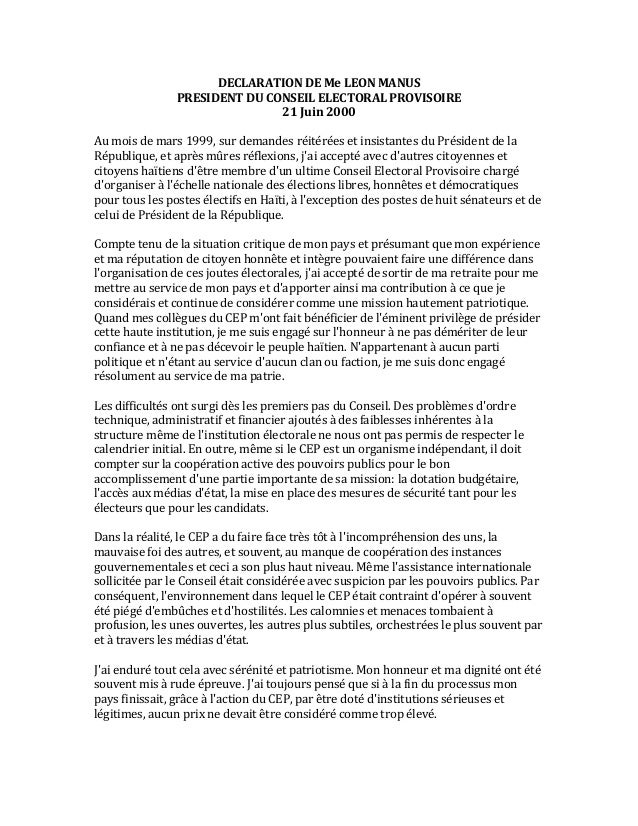 DECLARATION  DE  Me  LEON  MANUS   PRESIDENT  DU  CONSEIL  ELECTORAL  PROVISOIRE   21  Juin  2000...