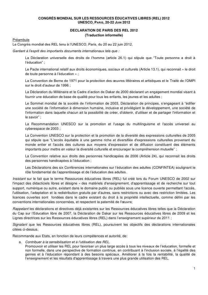 CONGRÉS MONDIAL SUR LES RESSOURCES ÉDUCATIVES LIBRES (REL) 2012                                   UNESCO, PARIS, 20-22 JUI...