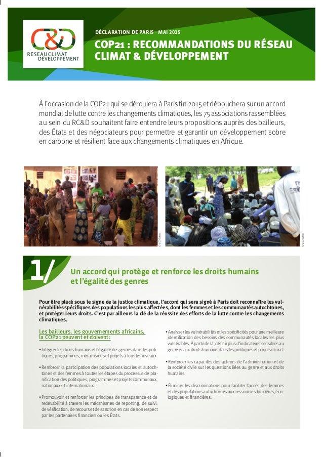 ©ECOBénin 1/ COP21 : RECOMMANDATIONS DU RéSEAU CLIMAT & DÉVELOPPEMENT déclaration de paris - mai 2015 À l'occasion de la C...