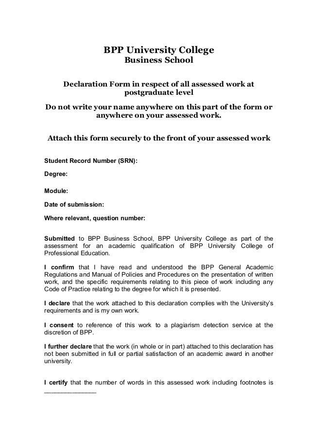 declaration document template - declaration form 1
