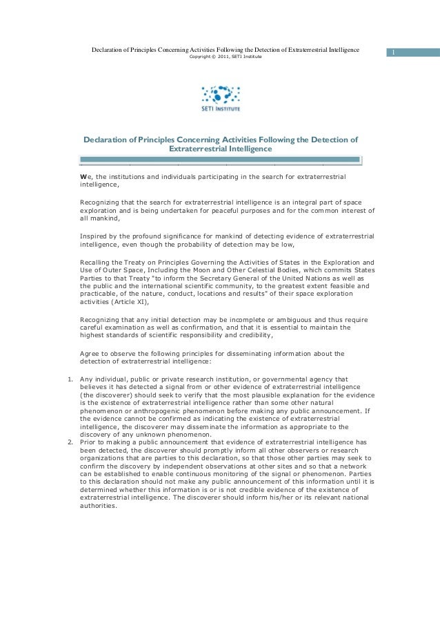 Declaration of principles concerning activities following ...