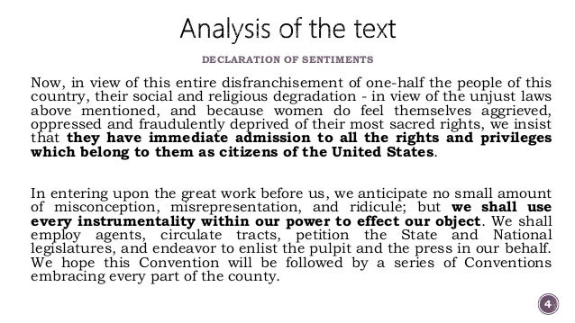 declaration of sentiments and resolutions thesis Declaration of sentiments and resolutions - in the declaration of sentiments and resolutions, elizabeth cady stanton states that the history of mankind is a history.