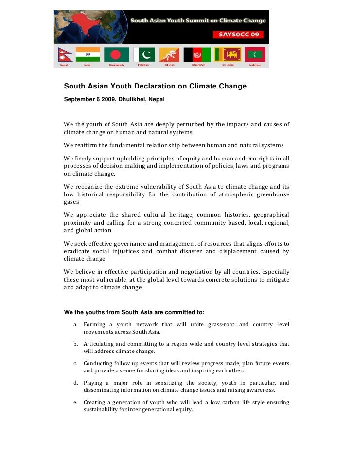 South Asian Youth Declaration on Climate Change September 6 2009, Dhulikhel, Nepal    We the youth of South Asia are deepl...