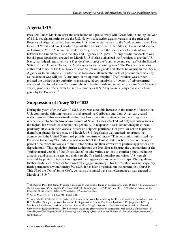 Declarations of War and Authorizations for the Use of Military Force Congressional Research Service 7 Algeria 1815 Preside...