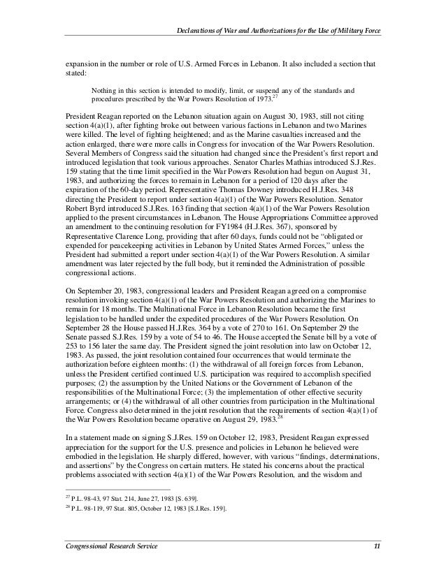 Declarations of War and Authorizations for the Use of Military Force Congressional Research Service 11 expansion in the nu...
