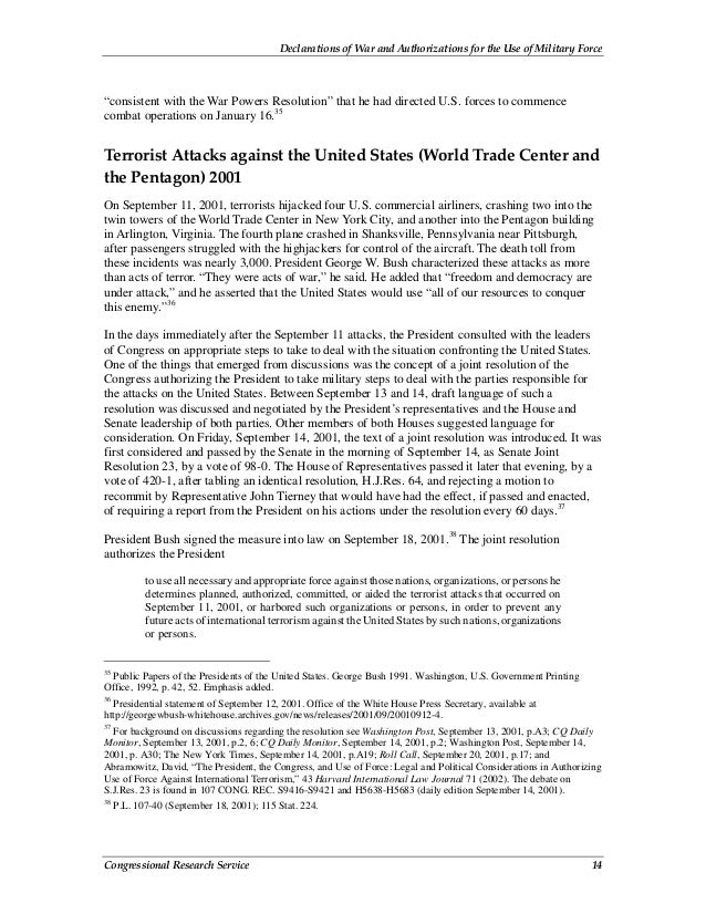"""Declarations of War and Authorizations for the Use of Military Force Congressional Research Service 14 """"consistent with th..."""