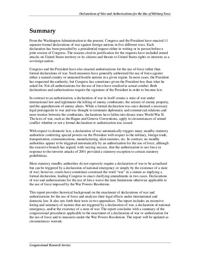 Declarations of War and Authorizations for the Use of Military Force Congressional Research Service Summary From the Washi...