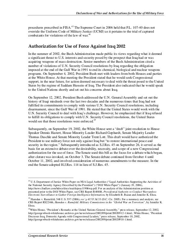 Declarations of War and Authorizations for the Use of Military Force Congressional Research Service 16 procedures prescrib...