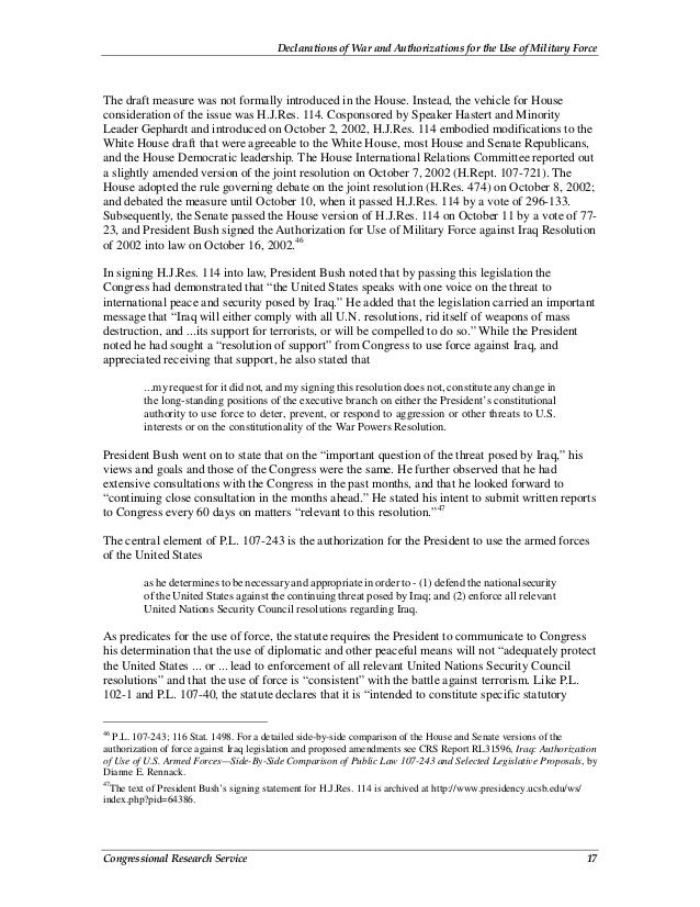Declarations of War and Authorizations for the Use of Military Force Congressional Research Service 17 The draft measure w...