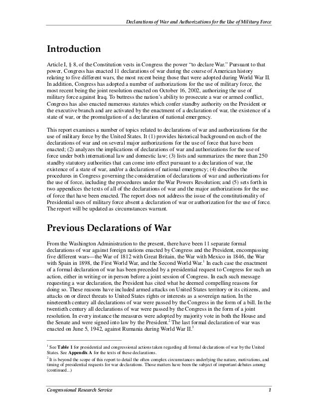 Declarations of War and Authorizations for the Use of Military Force Congressional Research Service 1 Introduction Article...