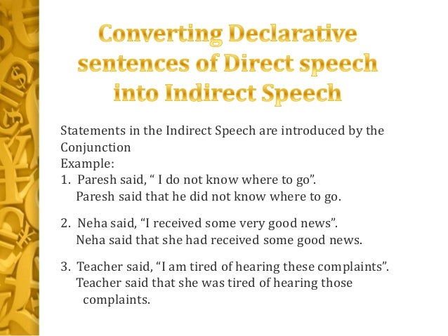 declarative sentence and examples