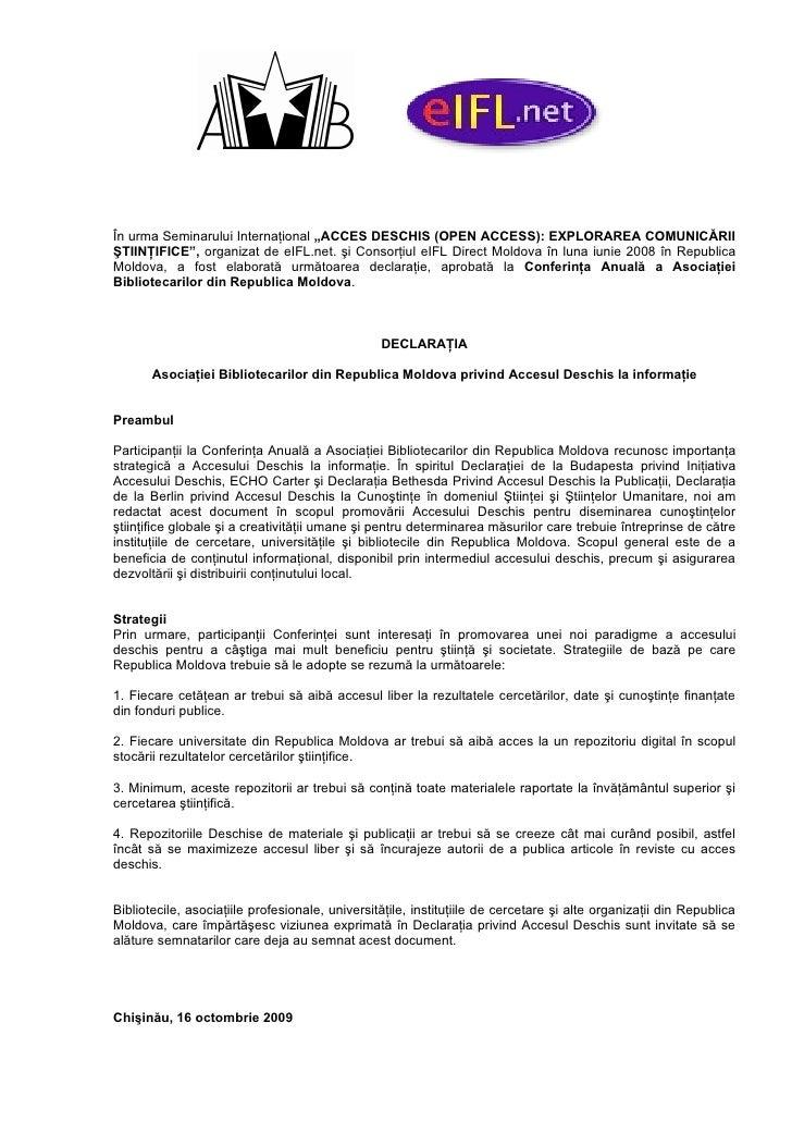 """În urma Seminarului Internaţional """"ACCES DESCHIS (OPEN ACCESS): EXPLORAREA COMUNICĂRII ŞTIINŢIFICE"""", organizat de eIFL.net..."""