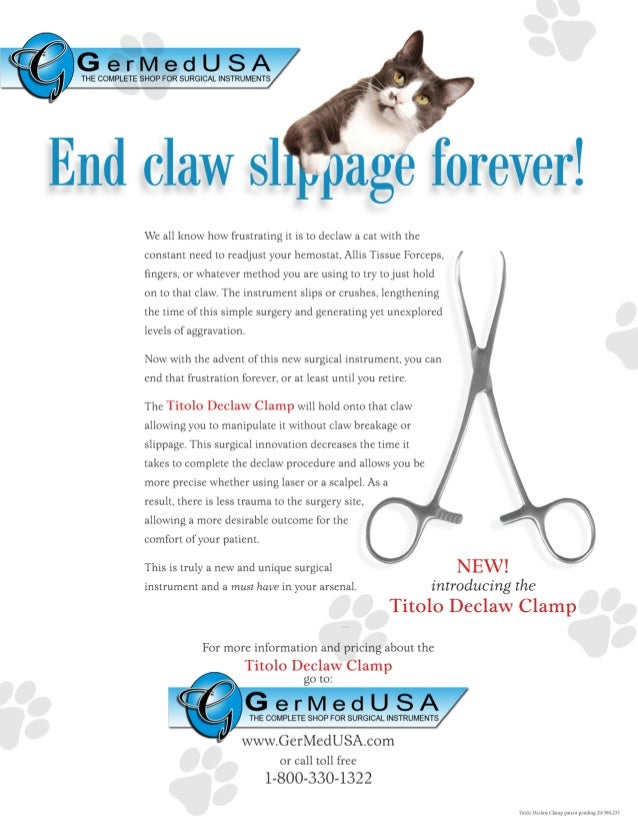 Declaw for cats GermedUSA flyer