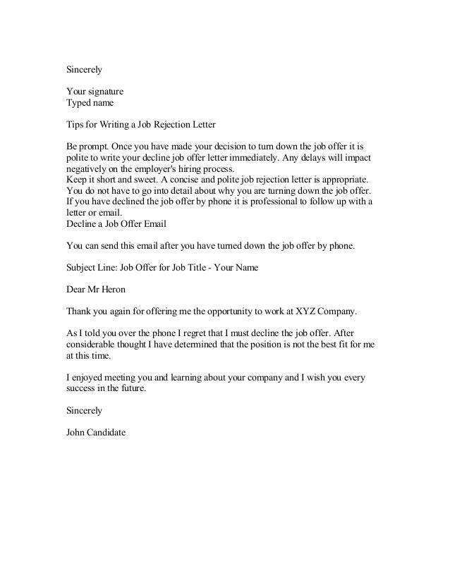 turn down a job offer letter