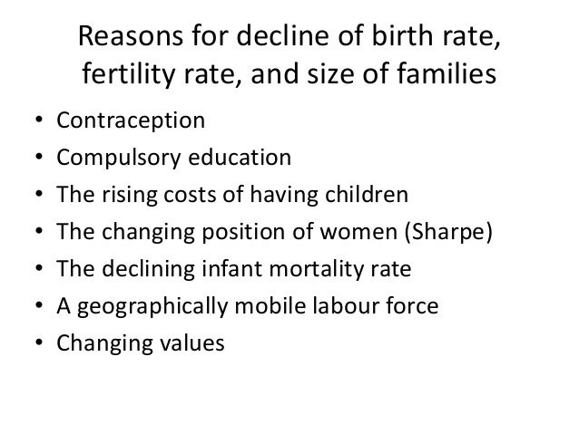 Declining birth rate, fertility rate and family size
