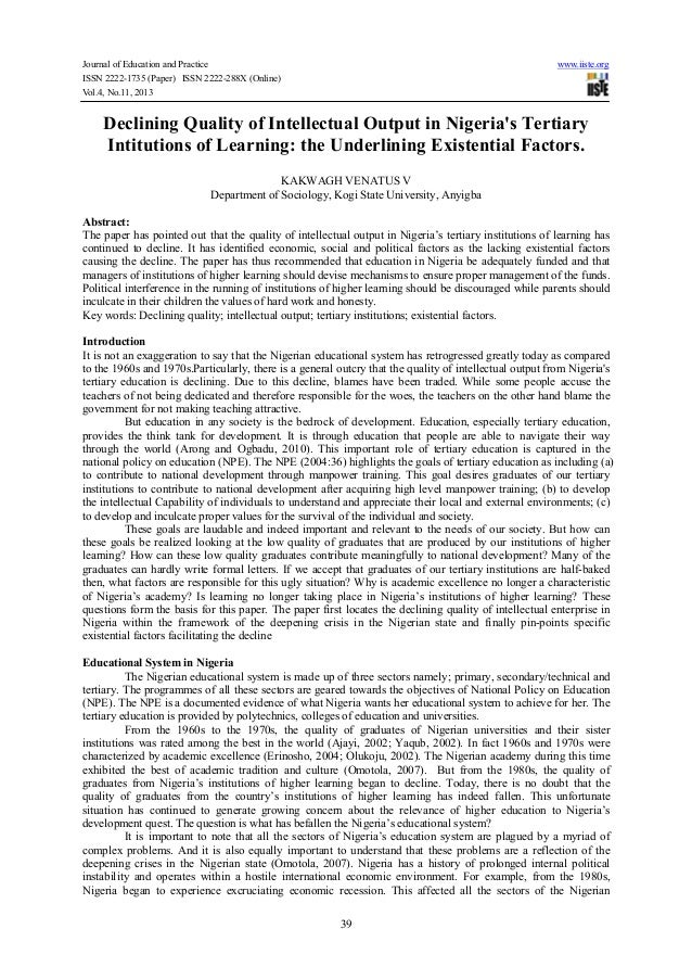 Journal of Education and Practice www.iiste.org ISSN 2222-1735 (Paper) ISSN 2222-288X (Online) Vol.4, No.11, 2013 39 Decli...