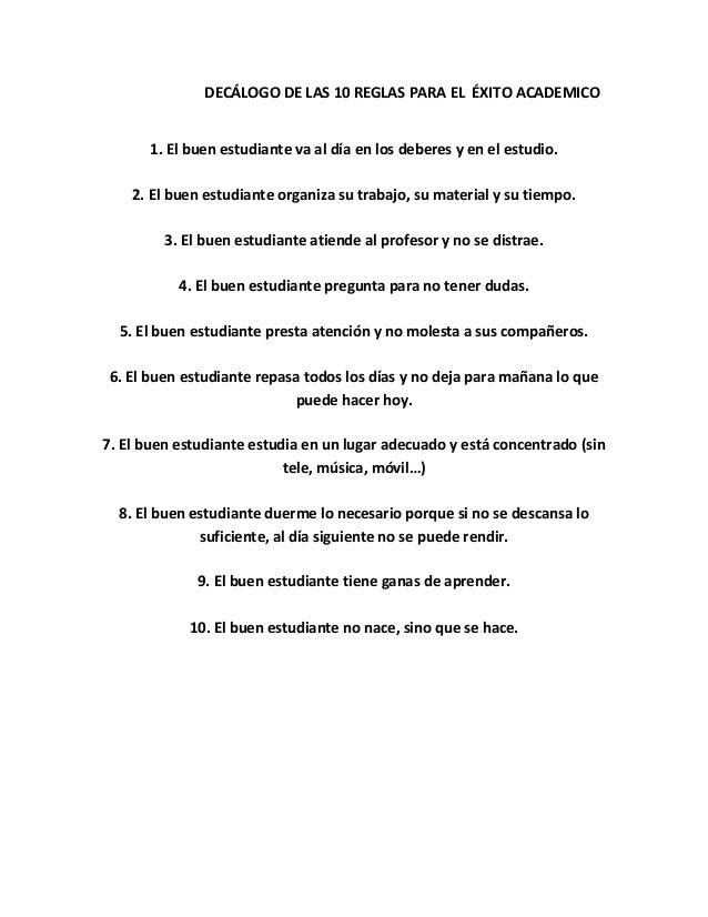 Dec logo de las 10 reglas para el xito academico for 10 reglas del salon de clases en ingles