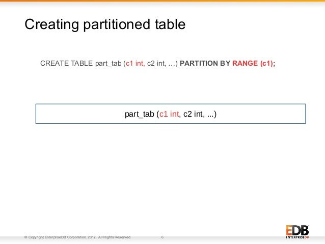 © Copyright EnterpriseDB Corporation, 2017. All Rights Reserved. 6 CREATE TABLE part_tab (c1 int, c2 int, …) PARTITION BY ...