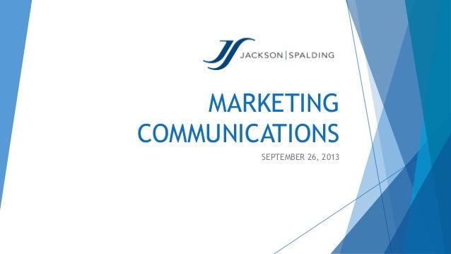 MARKETING COMMUNICATIONS SEPTEMBER 26, 2013