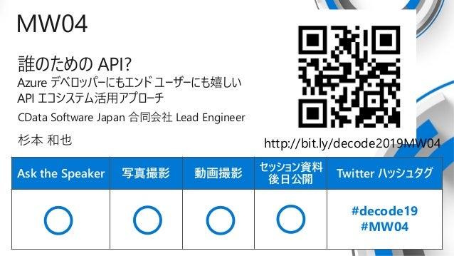 Ask the Speaker 写真撮影 動画撮影 セッション資料 後日公開 Twitter ハッシュタグ MW04 誰のための API? Azure デベロッパーにもエンド ユーザーにも嬉しい API エコシステム活用アプローチ CData ...