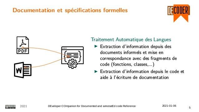 Documentation et spécifications formelles Traitement Automatique des Langues Extraction d'information depuis des documents...